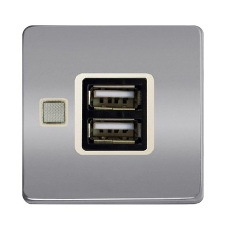 Розетка 1xUSB FEDE коллекции Fede, bright chrome/бежевый, FD-212USBCB-A